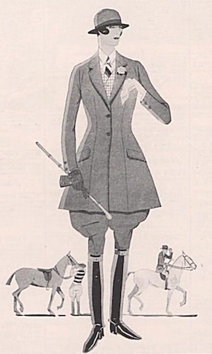 1920s Saks advertisement illustration for equestrian wear, March 1925.