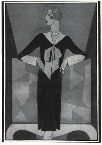 Douglas Pollard illustration of Schiaparelli's bowknot sweater, Vogue, December 1927