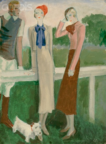 1930s Eduardo García Benito illustration: Schiaparelli beige suit, blue blouse and Sicilian cap; pink jacket and brown skirt.