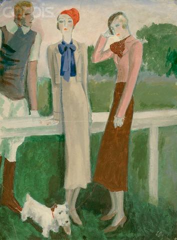 1930s Eduardo García Benito illustration: Schiaparelli beige suit, blue blouse and Sicilian cap; pink jacket and brown skirt.