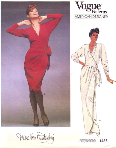 1980s Diane Von Furstenberg wrap dress pattern - Vogue 1486