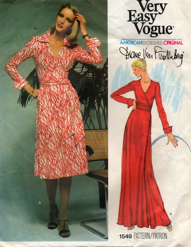 1970s Diane von Furstenberg wrap dress pattern - Vogue 1549