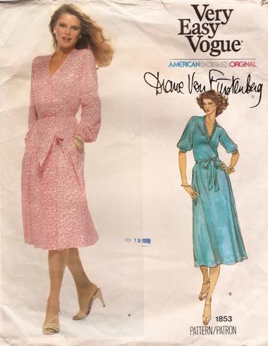 1970s Diane Von Furstenberg wrap dress pattern - Vogue 1853