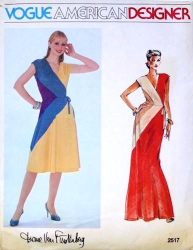 1980s Diane Von Furstenberg mock-wrap dress - Vogue 2517