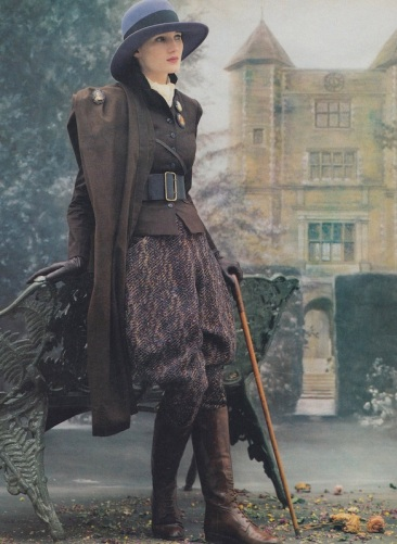 1980s Lord Snowdon photo for Vogue of Angela Rawlinson in a John McIntyre equestrian look