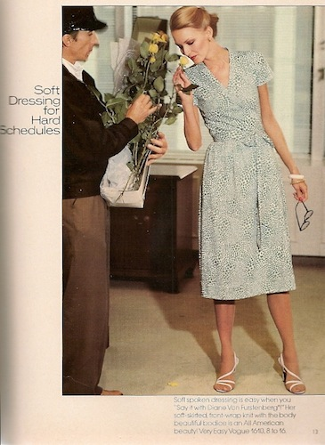 Karen Bjornson sniffs a rose in V1610 by Diane Von Furstenberg - Vogue Patterns magazine, 1977