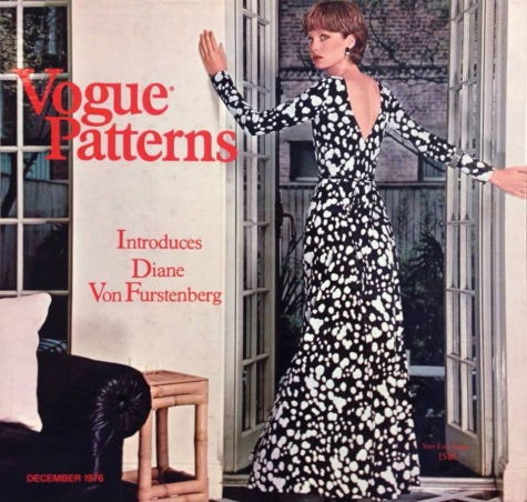 1970s back-wrapped DVF wrap dress on the cover of Vogue Patterns' holiday catalogue