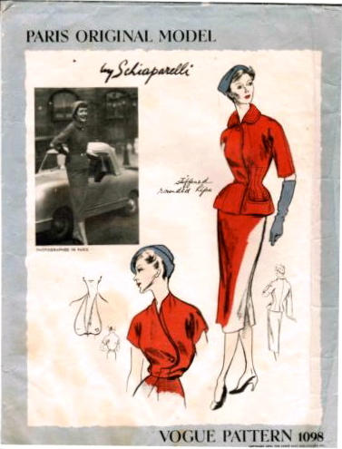 1950s Schiaparelli suit and blouse pattern - Vogue 1098