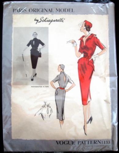 1950s Schiaparelli dress pattern - Vogue 1133