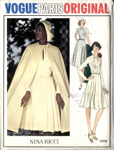 Billie Blair models a 1970s Nina Ricci cape and dress pattern - Vogue 1175