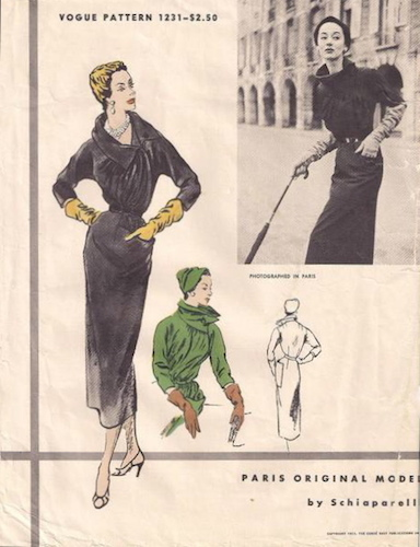 1950s Schiaparelli dress pattern - Vogue 1231