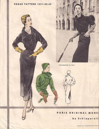 1950s Schiaparelli dress pattern - Vogue 1231