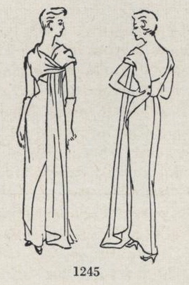 Drawing showing details of Schiaparelli evening dress pattern - Vogue 1245