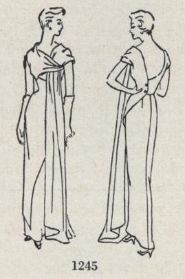 Drawing showing details of Schiaparelli evening dress pattern - Vogue 1245