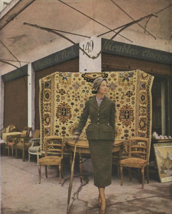 1940s Schiaparelli suit pattern Vogue 1051 photographed at les puces by Clifford Coffin