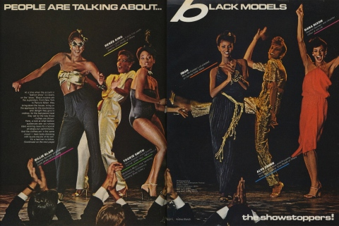 Billie Blair, Renée King, Toukie Smith, Iman, Alva Chinn, and Dana Dixon in Vogue, December 1978