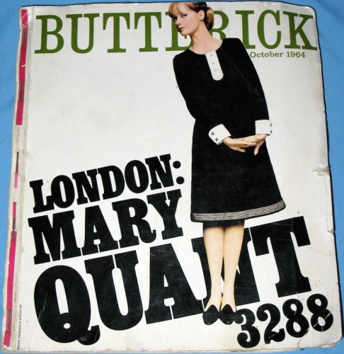 Butterick catalogue cover showing 3288 by Mary Quant - October 1964