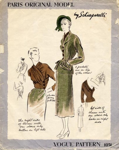 1940s Schiaparelli suit and blouse pattern - Vogue 1051