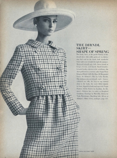 Benedetta Barzini wearing Vogue pattern 1429 by Christian Dior in Moygashel linen photographed by Gianni Penati