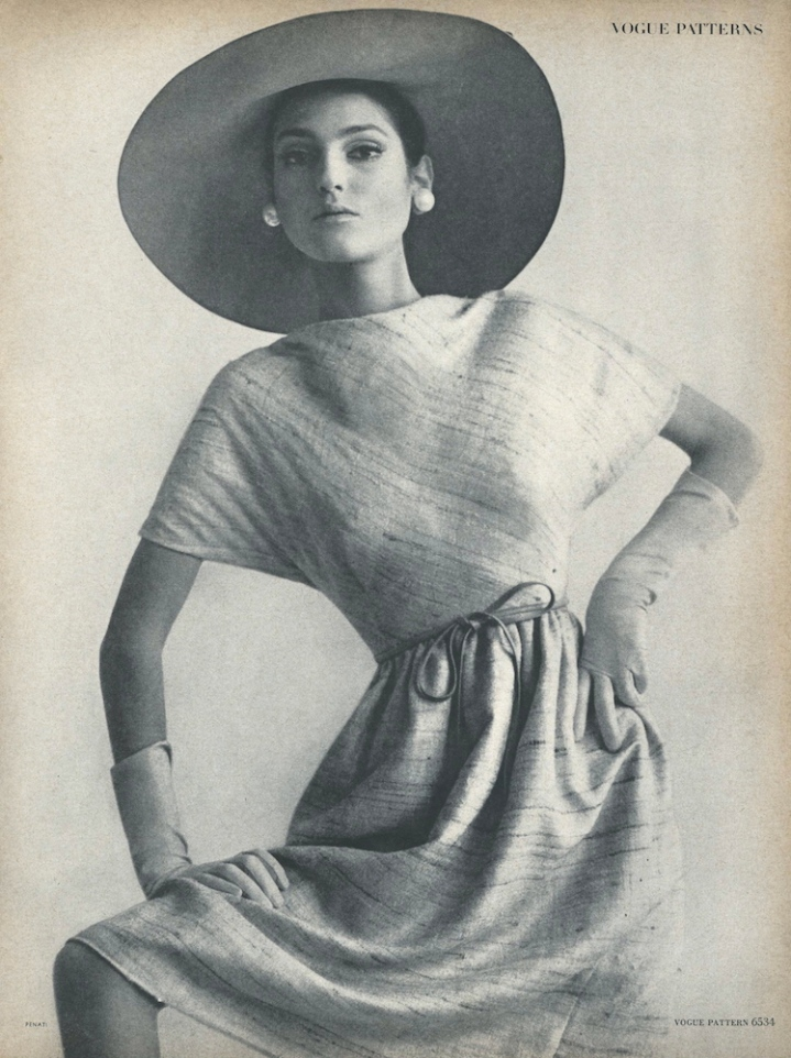 Benedetta Barzini wearing Vogue 6534 dress in Vogue, March 1965 photographed by Gianni Penati