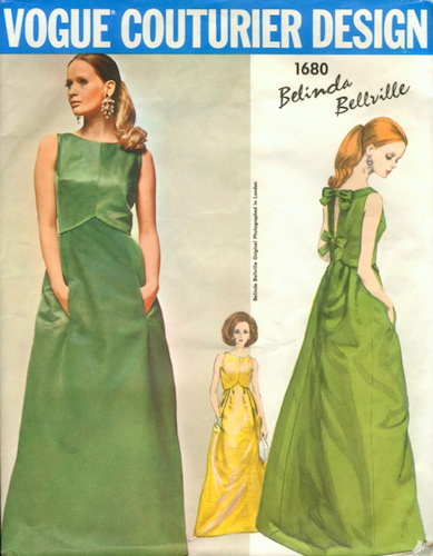 1960s Belinda Bellville evening dress pattern - Vogue 1680