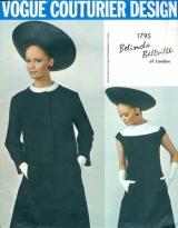 Celia Hammond models a 1960s Belinda Bellville dress and jacket pattern - Vogue 1795