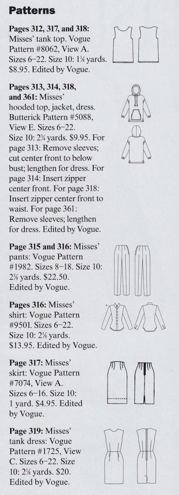 Vogue November 1997 patterns