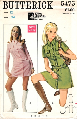 1960s Mary Quant mini dress pattern - Butterick 5475