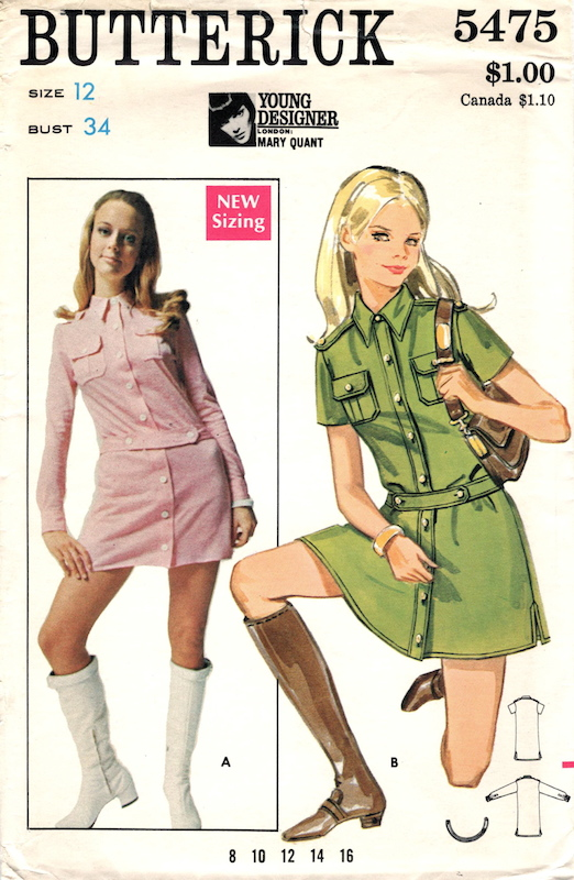 1960s Mary Quant dress pattern Butterick 5475