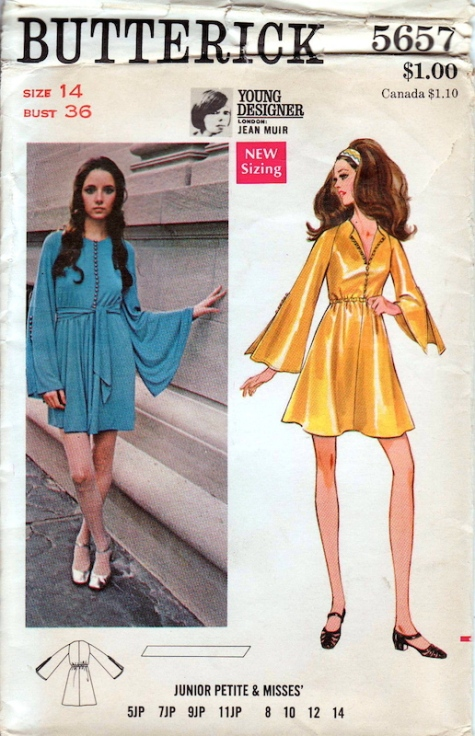 Late 1960s / early 1970s Jean Muir dress pattern Butterick 5657