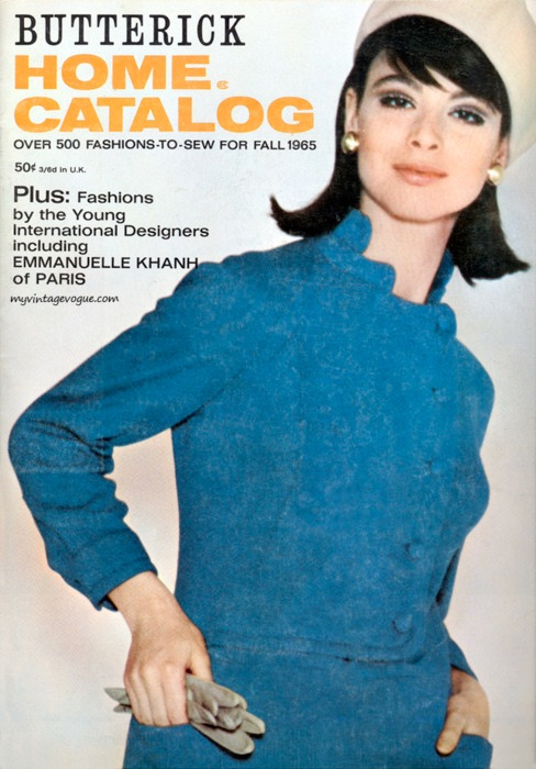 1960s Emmanuelle Khanh suit pattern on the cover of the Butterick Home Catalog, Fall 1965