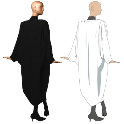 Patrick Kelly one-seam coat illustration