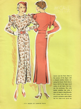 Lanvin illustration in McCall Advanced Paris Styles, March 1934