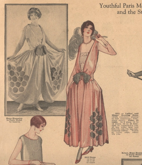 Hope Hampton wears a 1920s Lanvin evening dress, McCall 3935, in McCall Style News January 1925