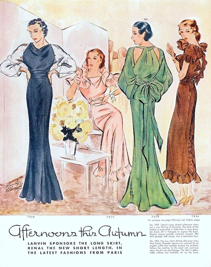 """Afternoons this Autumn,"" illustration showing dresses by Lanvin and Renal, McCall's magazine, September 1934"