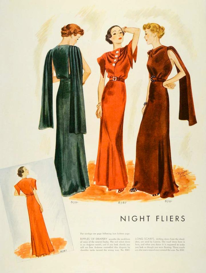 Marian Blynn illustration of couturier evening patterns McCall 8591 and 8597 in 1930s McCall's magazine