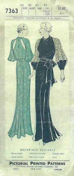 1930s Lanvin-adapted evening gown pattern - Pictorial Review 7363