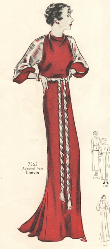 Illustration of a Lanvin-adapted evening dress pattern Pictorial Review 7363 in a 1930s pattern catalogue