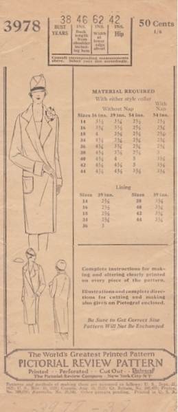 1920s Lanvin adaptation coat pattern - Pictorial Review 3978
