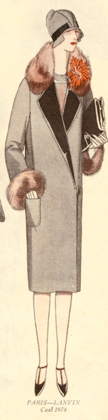 Illustration of Pictorial Review 3978 coat adapted from Lanvin in a 1920s pattern catalogue