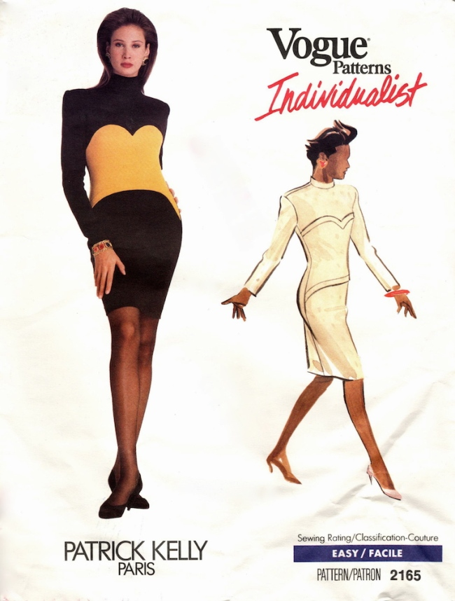1980s Patrick Kelly colour-blocked dress pattern - Vogue 2165
