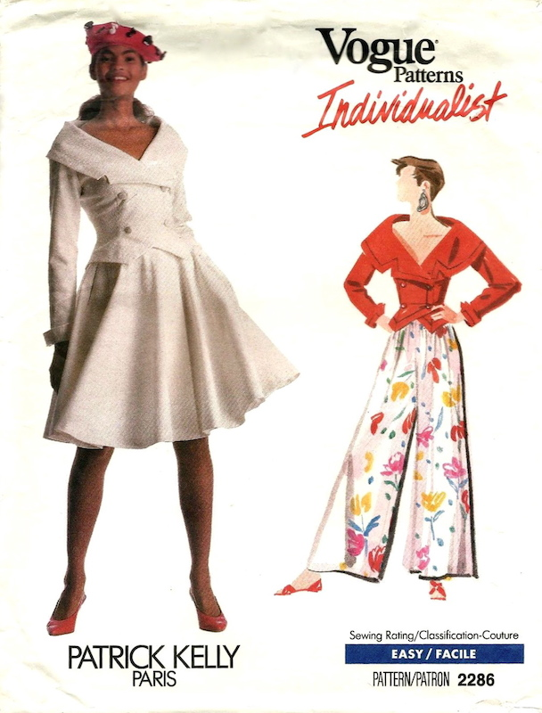 1980s Patrick Kelly top, skirt, and pants pattern - Vogue 2286