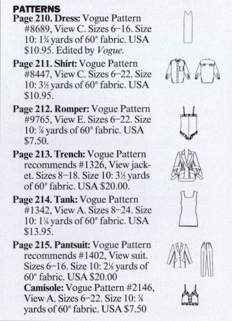Patterns used in the Kate Moss / Juergen Teller shoot, Vogue, June 1994