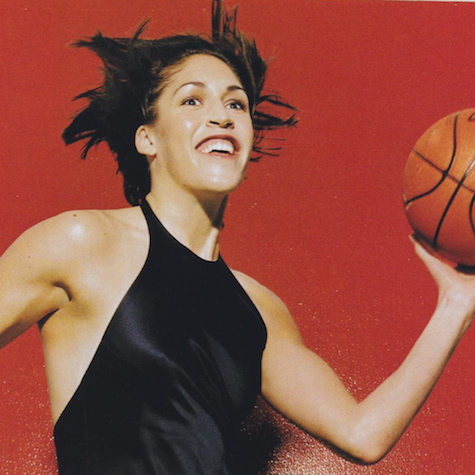 Rebecca Lobo photographed in evening gown with basketball by Michel Comte