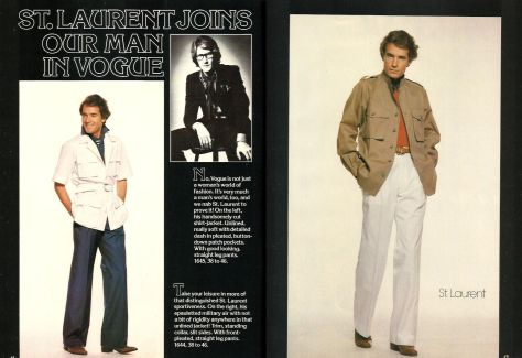 Yves Saint Laurent men's patterns in Vogue Patterns March April 1977
