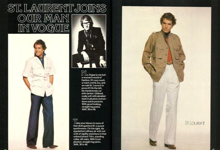 Yves Saint Laurent men's patterns in Vogue Patterns March April 1977