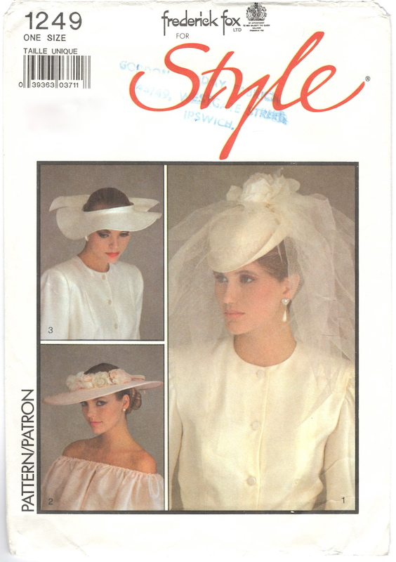1980s Frederick Fox bridal hat pattern Style 1249 with the royal warrant