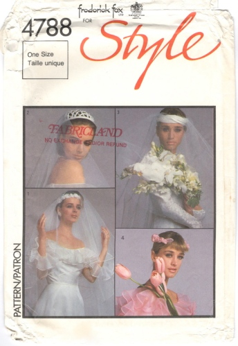 1980s Frederick Fox bridal veils and headpieces pattern - Style 4788