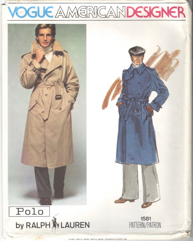 1970s Polo Ralph Lauren trench coat pattern Vogue American Designer 1581