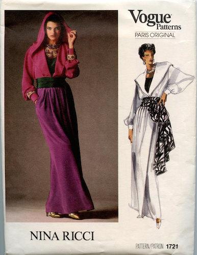 1980s Nina Ricci evening pattern featuring Linda Evangelista - Vogue 1721